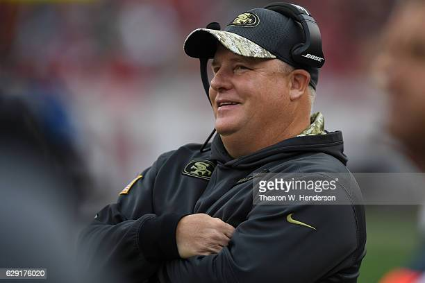 Head coach Chip Kelly of the San Francisco 49ers looks on during their NFL game against the New York Jets at Levi's Stadium on December 11 2016 in...