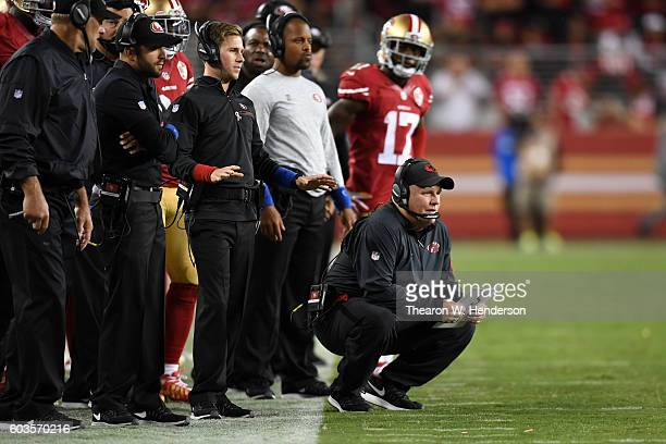 Head coach Chip Kelly of the San Francisco 49ers looks on from the sidelines during their NFL game against the Los Angeles Rams at Levi's Stadium on...