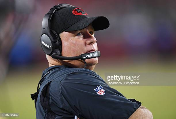 Head coach Chip Kelly of the San Francisco 49ers looks on from the sidelines against the Arizona Cardinals during their NFL football game at Levi's...