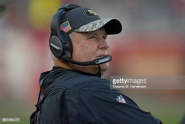 Head coach Chip Kelly of the San Francisco 49ers looks on from the sidelines against the Seattle Seahawks during the first quarter of their NFL...