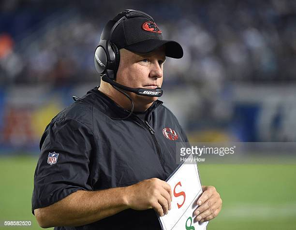 Head coach Chip Kelly of the San Francisco 49ers on the sidelines during a preseason game against the San Diego Chargers at Qualcomm Stadium on...