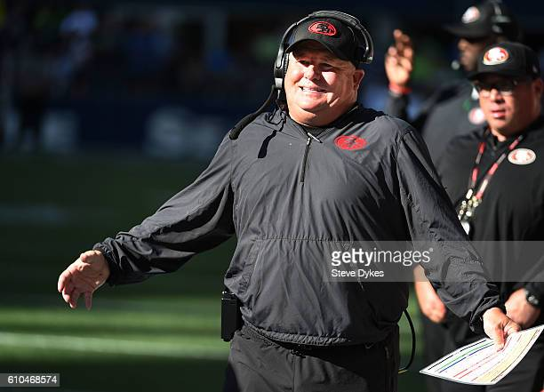 Head coach Chip Kelly of the San Francisco 49ers reacts to a play during the third quarter of the game against the Seattle Seahawksat CenturyLink...