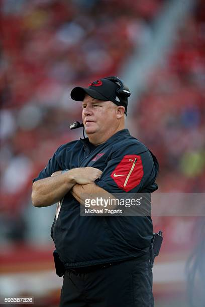 Head Coach Chip Kelly of the San Francisco 49ers stands on the sideline during the game against the Houston Texans at Levi Stadium on August 14, 2016...