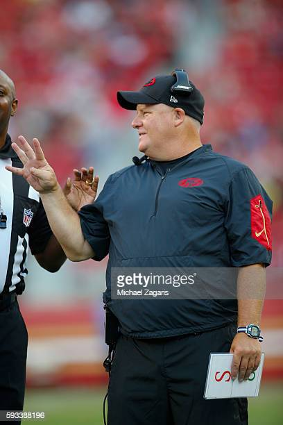 Head Coach Chip Kelly of the San Francisco 49ers talks with an official during the game against the Houston Texans at Levi Stadium on August 14, 2016...