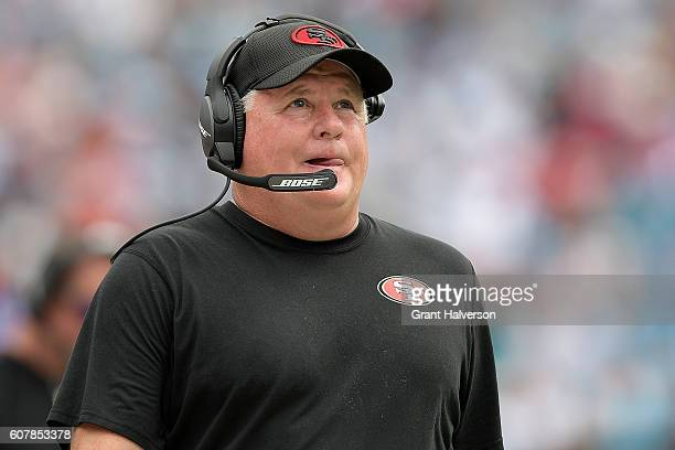 Head coach Chip Kelly of the San Francisco 49ers watches his team during the game against the Carolina Panthers at Bank of America Stadium on...