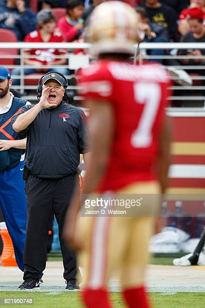 Head coach Chip Kelly of the San Francisco 49ers yells instructions to Colin Kaepernick during the second quarter against the New Orleans Saints at...