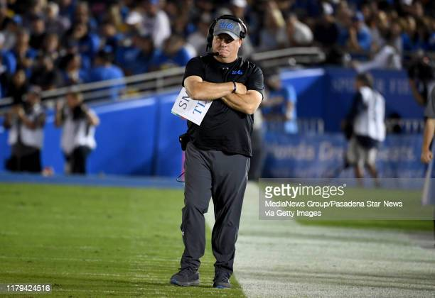 Head coach Chip Kelly of the UCLA Bruins looks on after a Oregon State Beavers touchdown in the first half of a NCAA football game at the Rose Bowl...