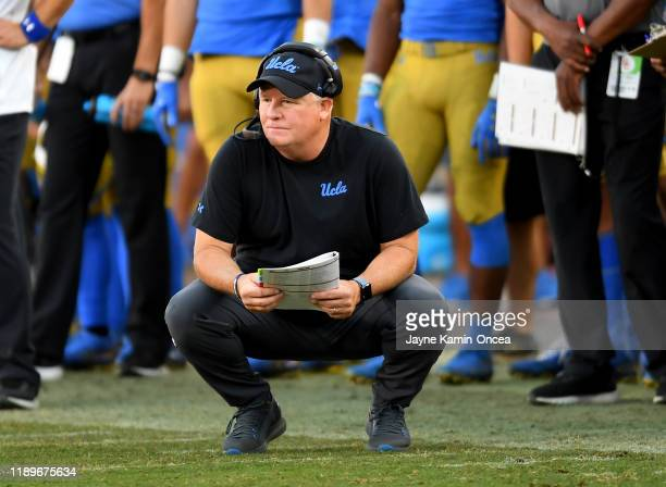Head coach Chip Kelly of the UCLA Bruins looks on during the game against the USC Trojans at the Los Angeles Memorial Coliseum on November 23, 2019...