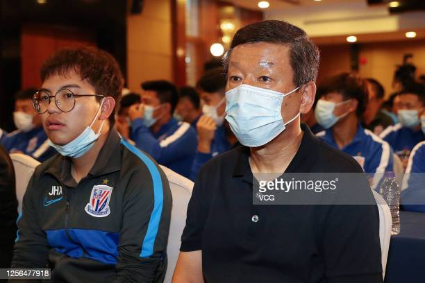 Head coach Choi Kang-Hee of Shanghai Greenland Shenhua Football Club attend the farewell ceremony before leaving for 2020 Chinese Super League on...