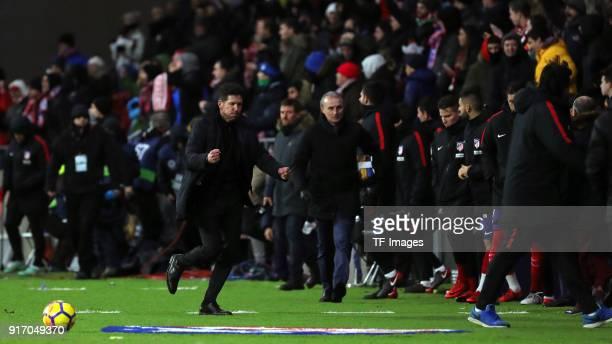 Head coach Cholo Simeone of Atletico Madrid celebrates after winning the La Liga match between Atletico Madrid and Valencia at Wanda Metropolitano...