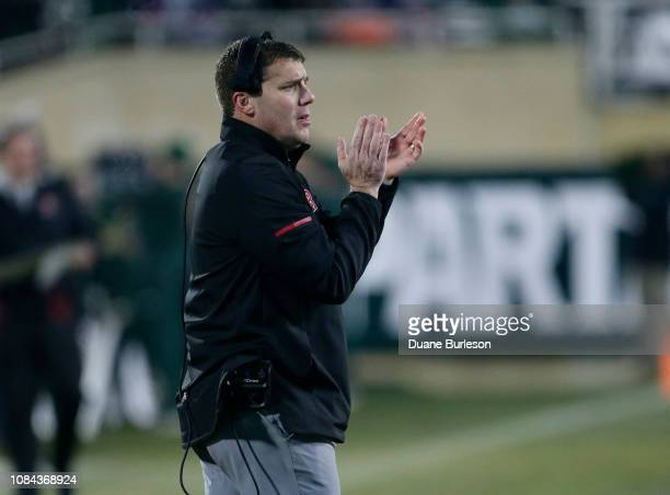 Head coach Chris Ash of the Rutgers Scarlet Knights during the second half of a game against the Michigan State Spartans at Spartan Stadium on...