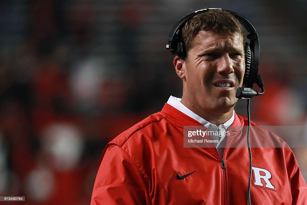 Head coach Chris Ash of the Rutgers Scarlet Knights looks on against the Michigan Wolverines in the second half at High Point Solutions Stadium on October 8, 2016 in Piscataway, New Jersey.