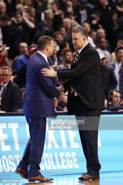Head coach Chris Beard of the Texas Tech Red Raiders and Head coach Matt Painter of the Purdue Boilermakers shake hands after the game in the 2018...