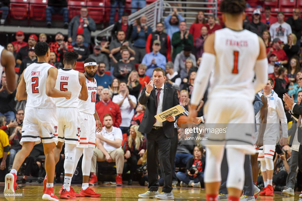 Head coach Chris Beard of the Texas Tech Red Raiders calls his team over at a time out during the second half of the game against the Oklahoma State Cowboys on January 23, 2018 at United Supermarket Arena in Lubbock, Texas. Texas Tech defeated Oklahoma State 75-70.
