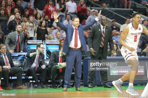 Head Coach Chris Beard of the Texas Tech Red Raiders during the NCAA Div I Men's Championship First Round basketball game between the Texas Tech Red...