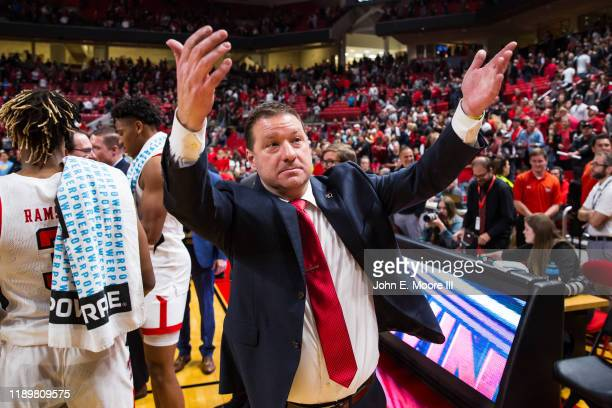 Head coach Chris Beard of the Texas Tech Red Raiders invites students onto the court after the college basketball game against the LIU Sharks on...