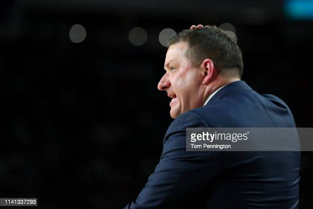 Head coach Chris Beard of the Texas Tech Red Raiders reacts against the Virginia Cavaliers in the first half during the 2019 NCAA men's Final Four...