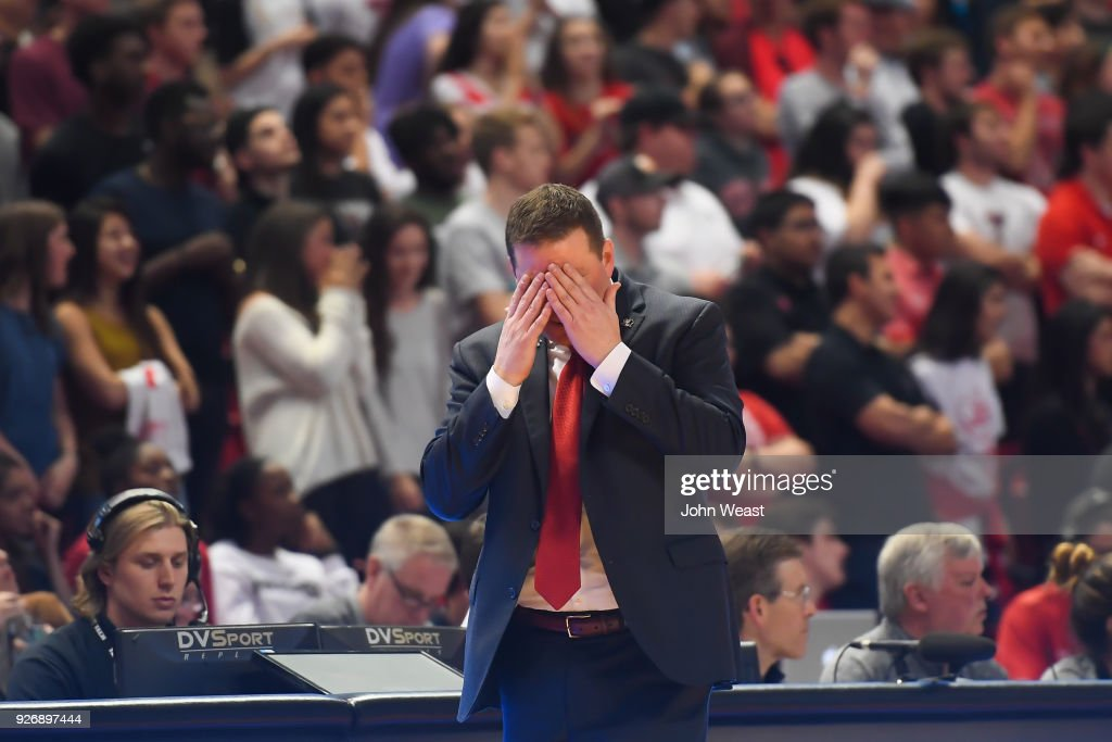 Head coach Chris Beard of the Texas Tech Red Raiders reacts to play on the court during the second half of the game against the TCU Horned Frogs on March 3, 2018 at United Supermarket Arena in Lubbock, Texas. Texas Tech defeated TCU