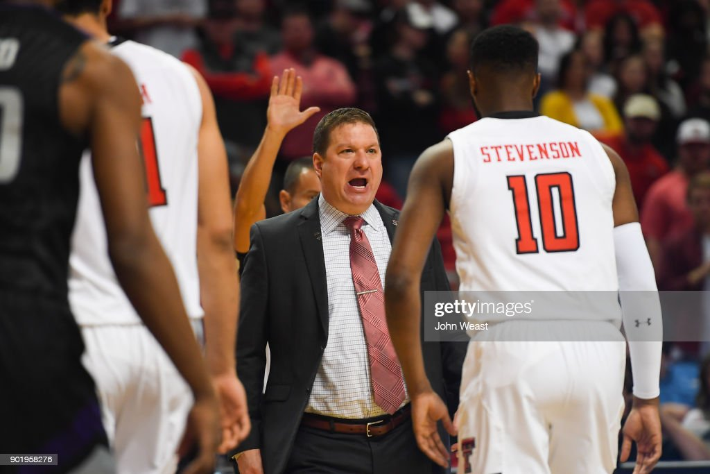 Head coach Chris Beard of the Texas Tech Red Raiders yells at his players as they come off the court at a timeout during the game on January 6, 2018 at United Supermarket Arena in Lubbock, Texas. Texas Tech won the game 74-58.