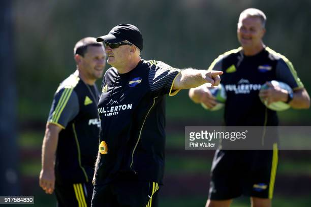 Head Coach Chris Boyd during a Hurricanes Super Rugby training session at Rugby League Park on February 13 2018 in Wellington New Zealand