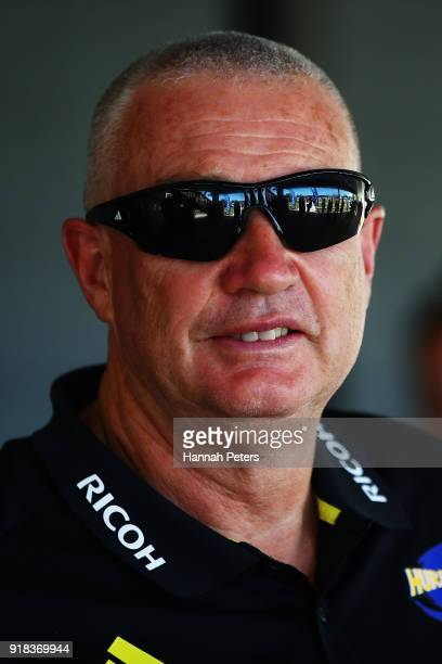 Head coach Chris Boyd of the Hurricanes arrives ahead of the Super Rugby trial match between the Blues and the Hurricanes at Mahurangi Rugby Club on...