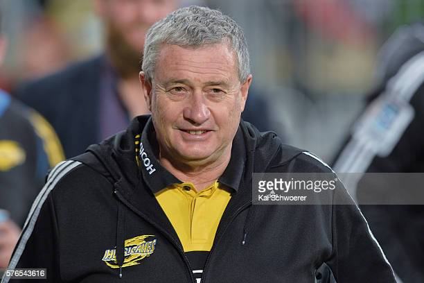 Head Coach Chris Boyd of the Hurricanes looks on prior to the round 17 Super Rugby match between the Crusaders and the Hurricanes at AMI Stadium on...