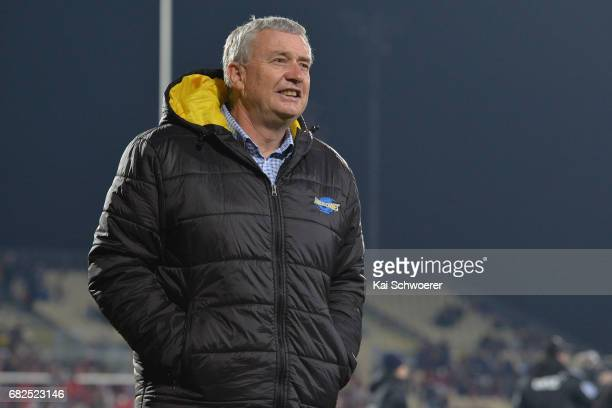 Head Coach Chris Boyd of the Hurricanes looks on prior to the round 12 Super Rugby match between the Crusaders and the Hurricanes at AMI Stadium on...