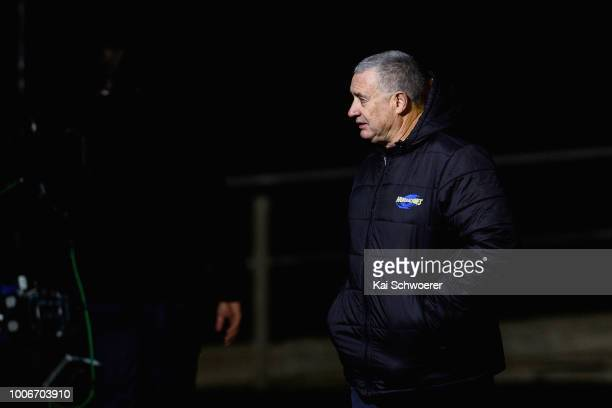 Head Coach Chris Boyd of the Hurricanes looks on prior to the Super Rugby Semi Final match between the Crusaders and the Hurricanes at AMI Stadium on...
