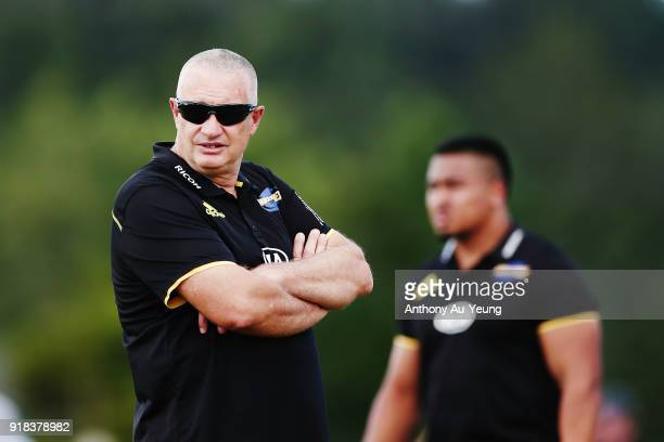 Head Coach Chris Boyd of the Hurricanes looks on prior to the Super Rugby trial match between the Blues and the Hurricanes at Mahurangi Rugby Club on...
