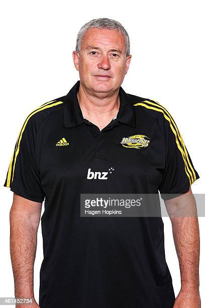 Head coach Chris Boyd poses during a Wellington Hurricanes Super Rugby headshots session on January 13 2015 in Wellington New Zealand
