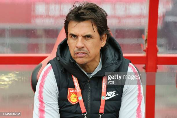 Head coach Chris Coleman of Hebei China Fortune looks on during the seventh round match of 2019 Chinese Football Association Super League between...
