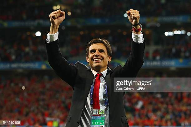 Head coach Chris Coleman of Wales celebrates after the UEFA EURO 2016 quarter final match between Wales and Belgium at Stade PierreMauroy on July 1...