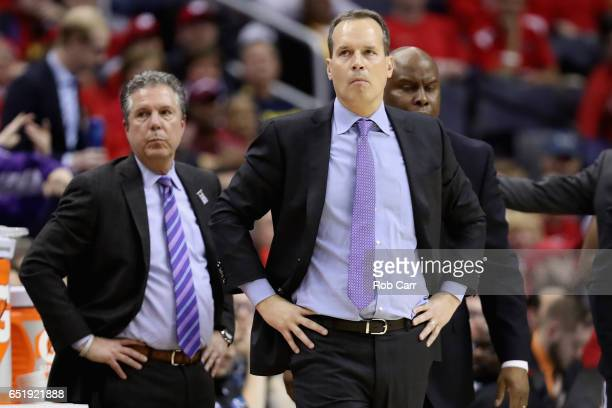 Head coach Chris Collins of the Northwestern Wildcats follows the game against the Maryland Terrapins during the Big Ten Basketball Tournament at...