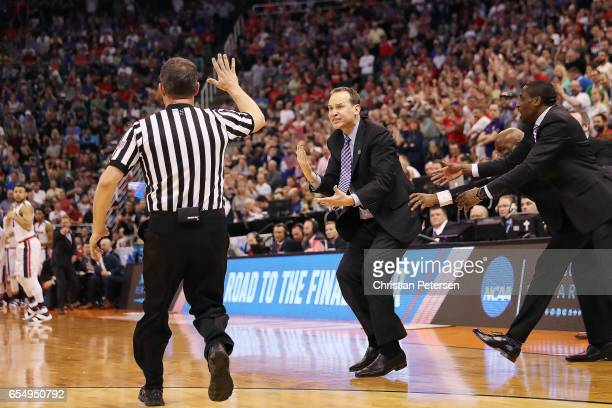 Head coach Chris Collins of the Northwestern Wildcats is called for a technical foul against the Gonzaga Bulldogs during the second round of the 2017...