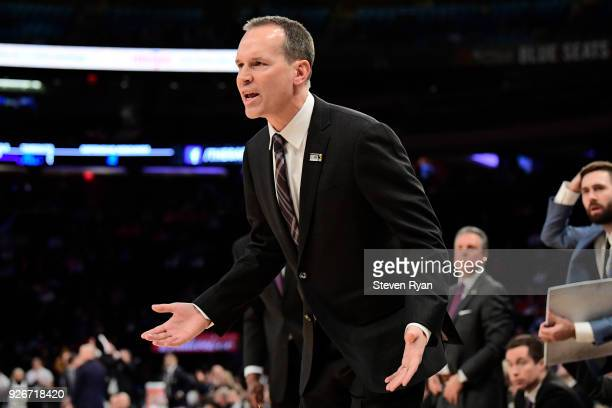Head coach Chris Collins of the Northwestern Wildcats reacts against the Penn State Nittany Lions during the second round of the Big Ten Basketball...