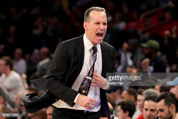 Head coach Chris Collins of the Northwestern Wildcats reacts in the second half against the Penn State Nittany Lions during the second round of the...
