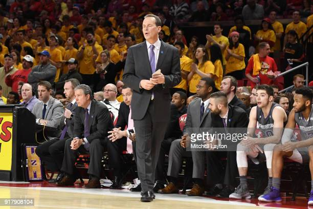 Head coach Chris Collins of the Northwestern Wildcats reacts to a call during a college basketball game against the Maryland Terrapins at the Xfinity...