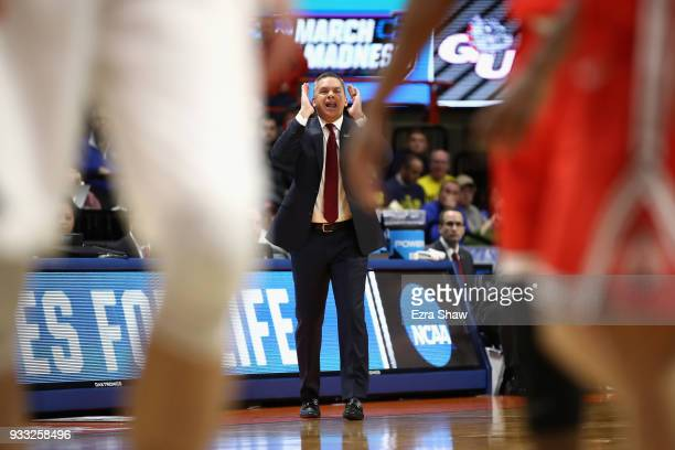 Head coach Chris Holtmann of the Ohio State Buckeyes reacts during the first half against the Gonzaga Bulldogs in the second round of the 2018 NCAA...