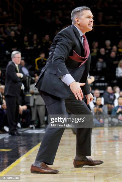 Head coach Chris Holtmann of the Ohio State Buckeyes yells in the second half against the Iowa Hawkeyes on January 4 2018 at CarverHawkeye Arena in...