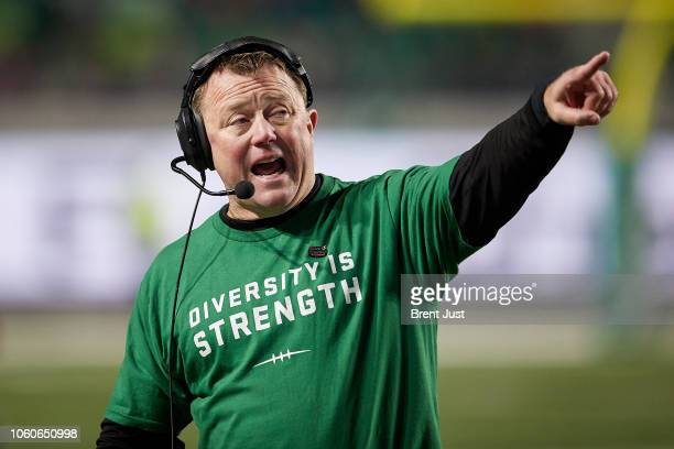 Head coach Chris Jones of the Saskatchewan Roughriders on the sideline during the game between the BC Lions and Saskatchewan Roughriders at Mosaic...