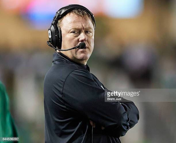 Head coach Chris Jones of the Saskatchewan Roughriders on the sideline during the game between the Toronto Argonauts and Saskatchewan Roughriders at...