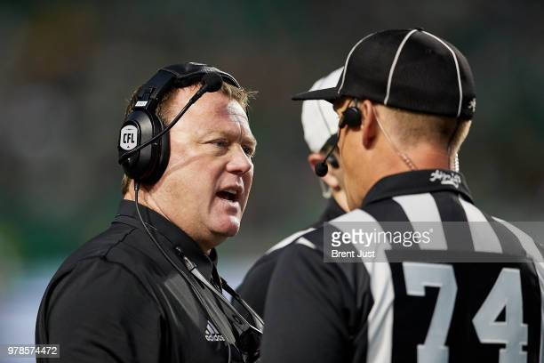 Head coach Chris Jones of the Saskatchewan Roughriders talks about a call with the referee during the game between the Toronto Argonauts and...