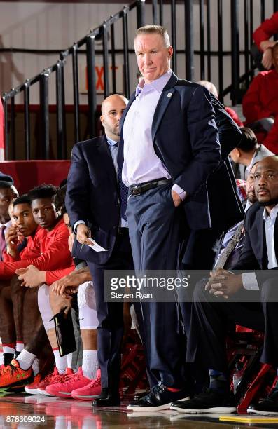 Head coach Chris Mullin of St John's in action against Nebraska during an NCAA basketball game at Carnesecca Arena on November 16 2017 in the Queens...