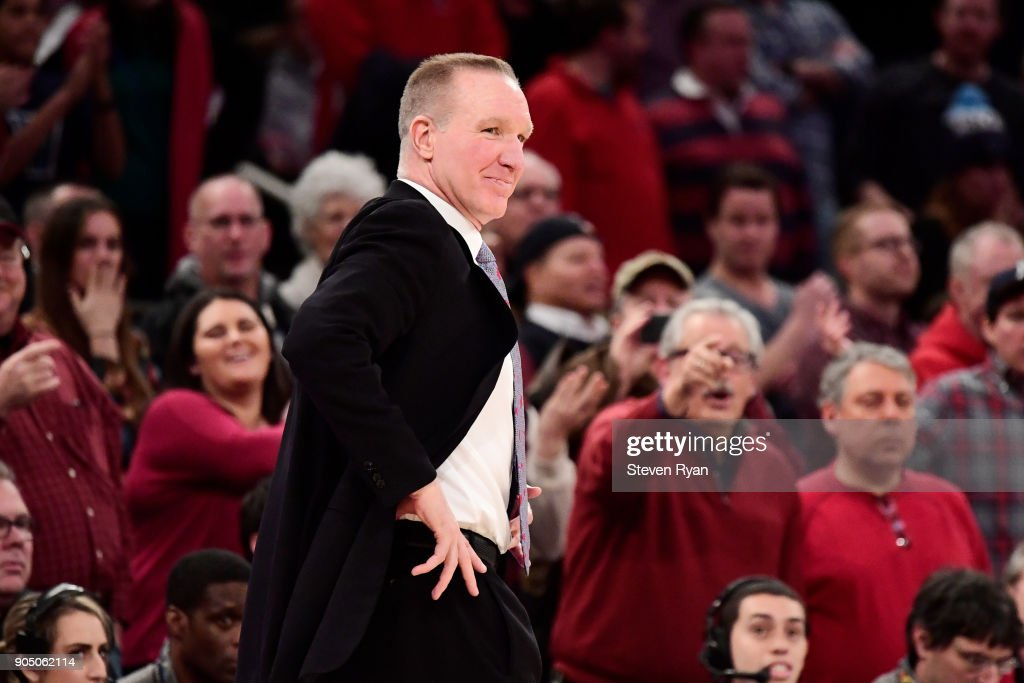 Head coach Chris Mullin of the St. John's Red Storm reacts against the Villanova Wildcats during an NCAA men's basketball game at Madison Square Garden on January 13, 2018 in New York City.
