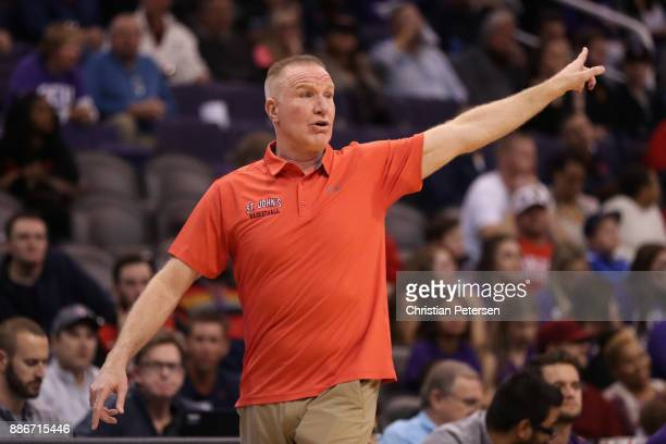 Head coach Chris Mullin of the St John's Red Storm reacts during the first half of the college basketball game against the Grand Canyon Antelopes at...