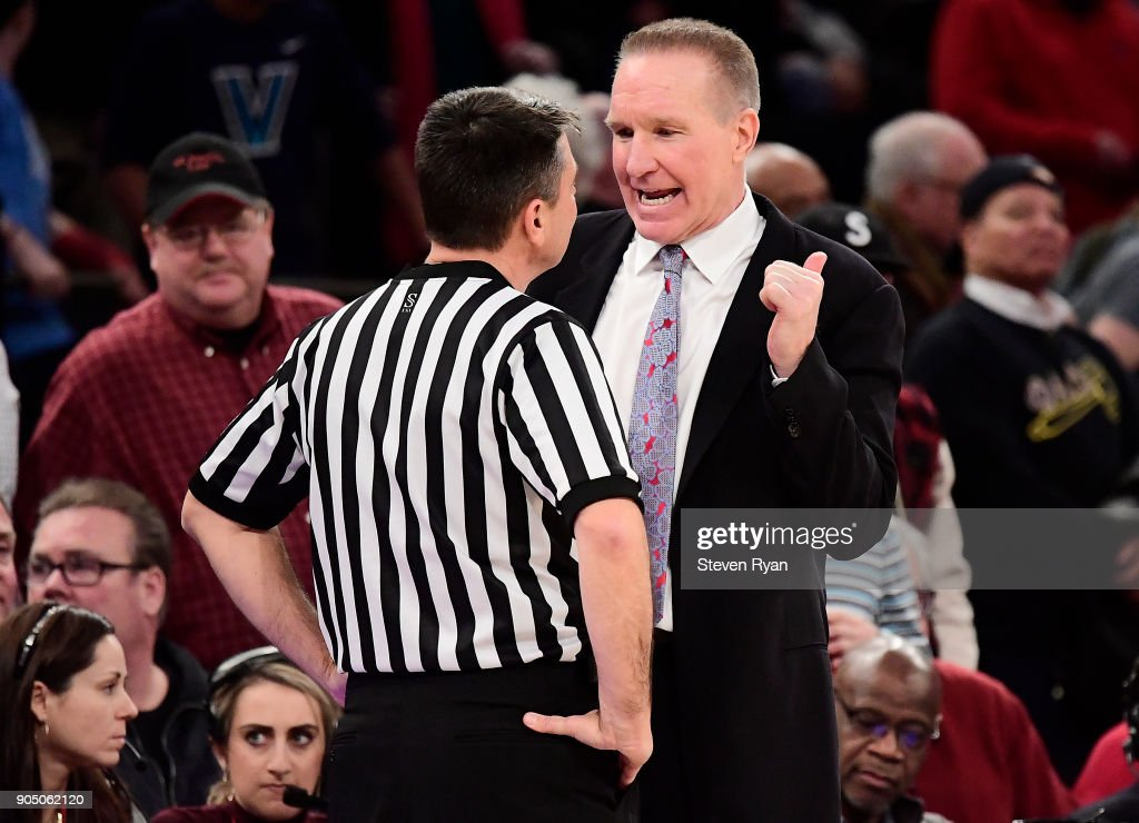 Head coach Chris Mullin of the St. John's Red Storm reacts to the official during an NCAA men's basketball game against the Villanova Wildcats at Madison Square Garden on January 13, 2018 in New York City.
