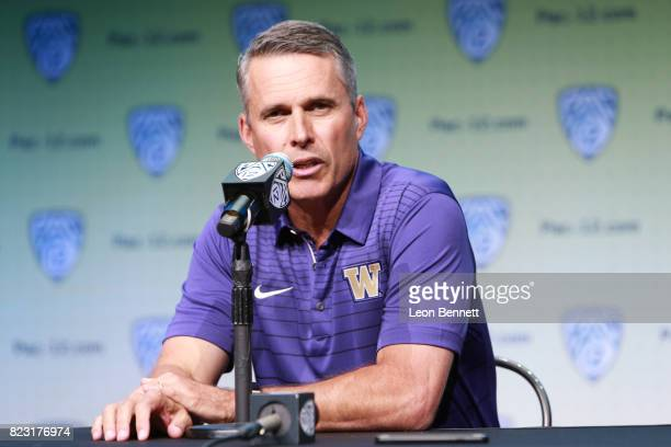 Head coach Chris Petersen of the University of Washington speaks to the media during PAC12 Media Days on July 26 2017 in Hollywood California