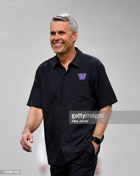 Head coach Chris Petersen of the Washington Huskies is all smiles during the Washington Huskies NFL Pro Day in Dempsey Indoor Center on April 01 2019...
