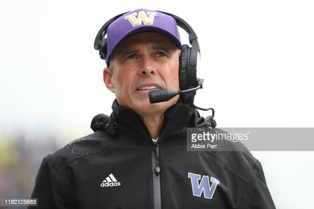 Head Coach Chris Petersen of the Washington Huskies looks on against the Oregon Ducks in the second quarter during their game at Husky Stadium on...