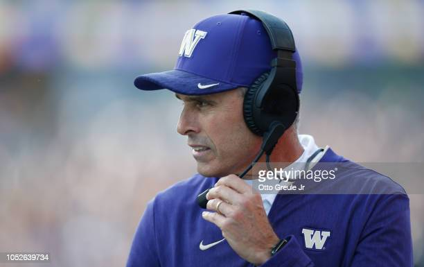 Head coach Chris Petersen of the Washington Huskies looks on during the game against the Colorado Buffaloes at Husky Stadium on October 20 2018 in...